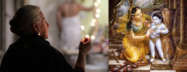 Kartika offering of lamps to the Deities